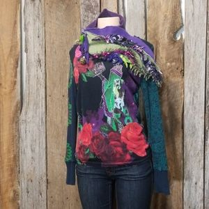 DESIGUAL DESIGNER MIXED PATTERN & PRINT KNIT!